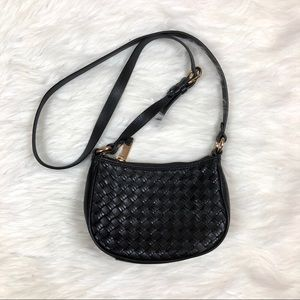 Cole Haan Black Leather Crossbody Bag Woven Gold